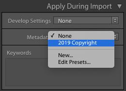 Preestablecido de metadatos de copyright