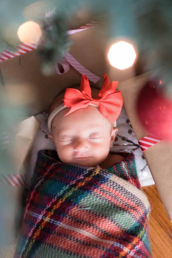 Foto de bebé enmarcada por ramas de árboles de Navidad