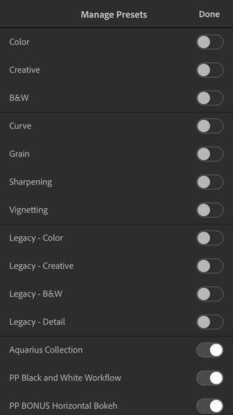 Administrar presets en la aplicación móvil Lightroom