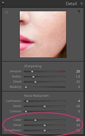 Reducción de ruido en los controles deslizantes de color de Lightroom