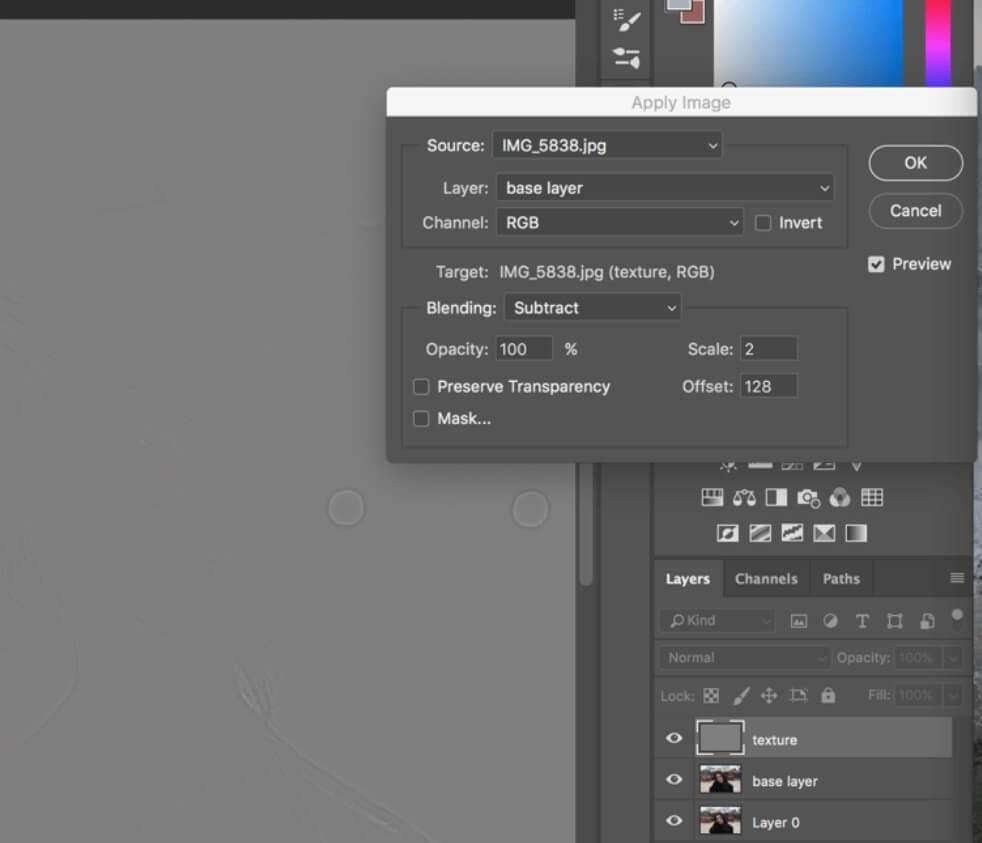 Configuración de separación de frecuencia en Photoshop