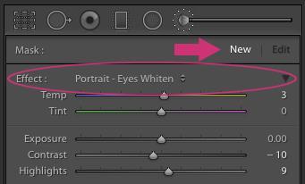 Cómo blanquear los ojos en Lightroom