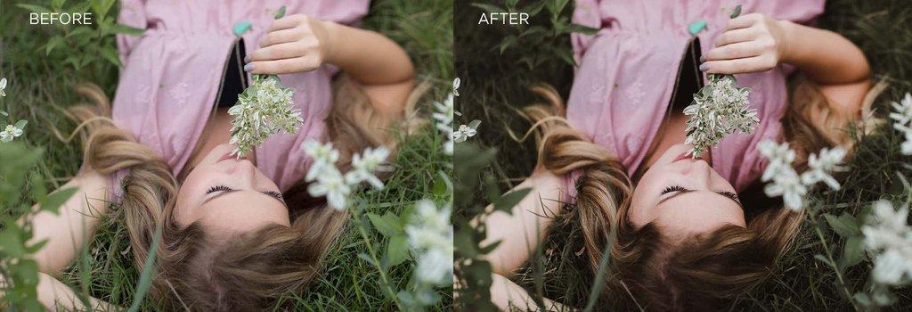 antes y después de usar el preset oscuro y de mal humor