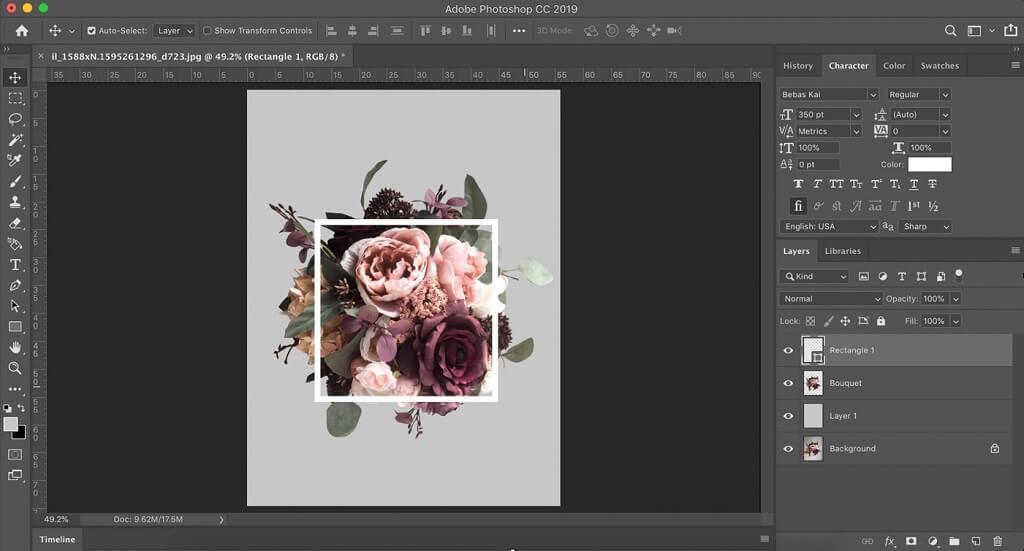cómo crear un efecto de tipografía floral en photoshop