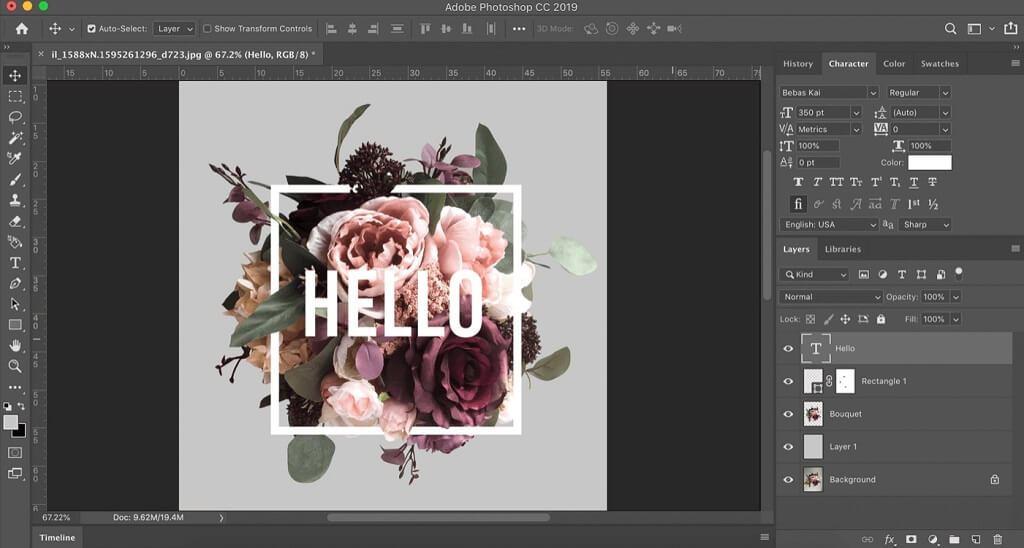 efecto de texto de flor photoshop