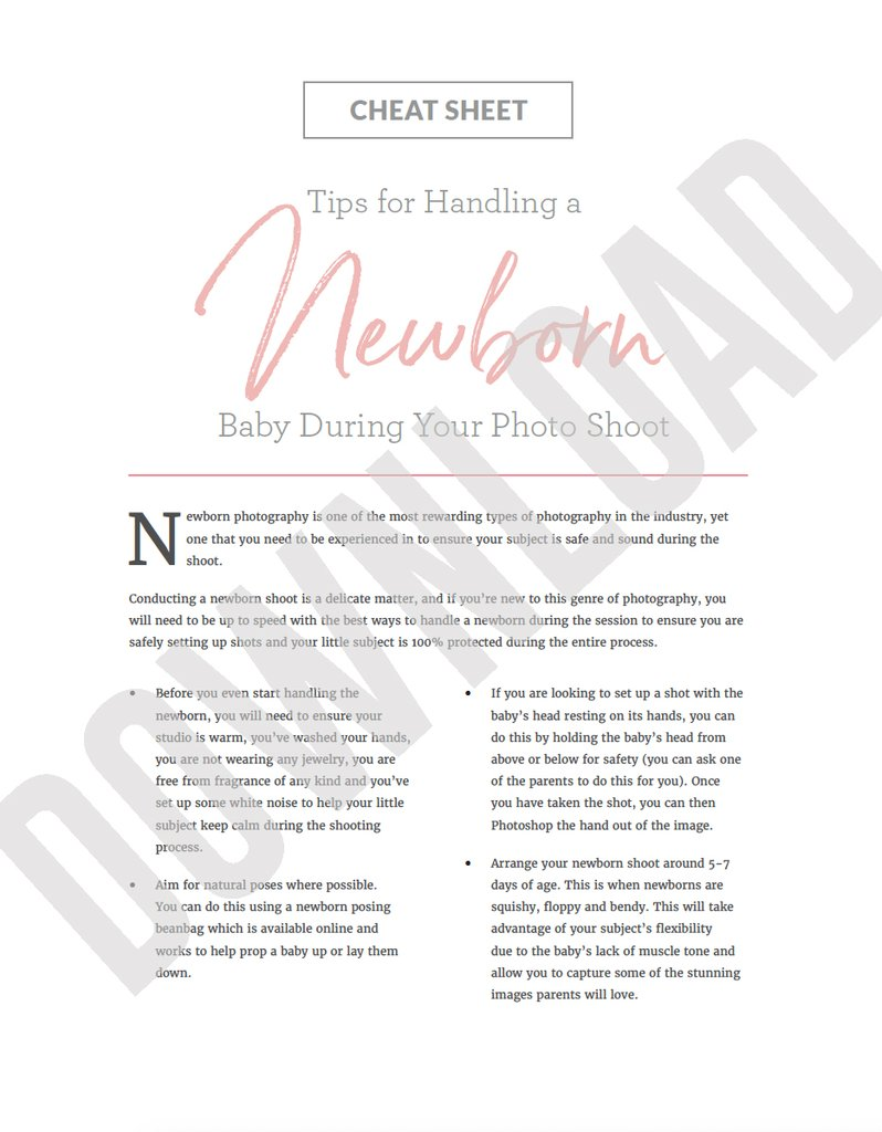 Hoja de trucos de consejos de seguridad para fotografía de recién nacidos
