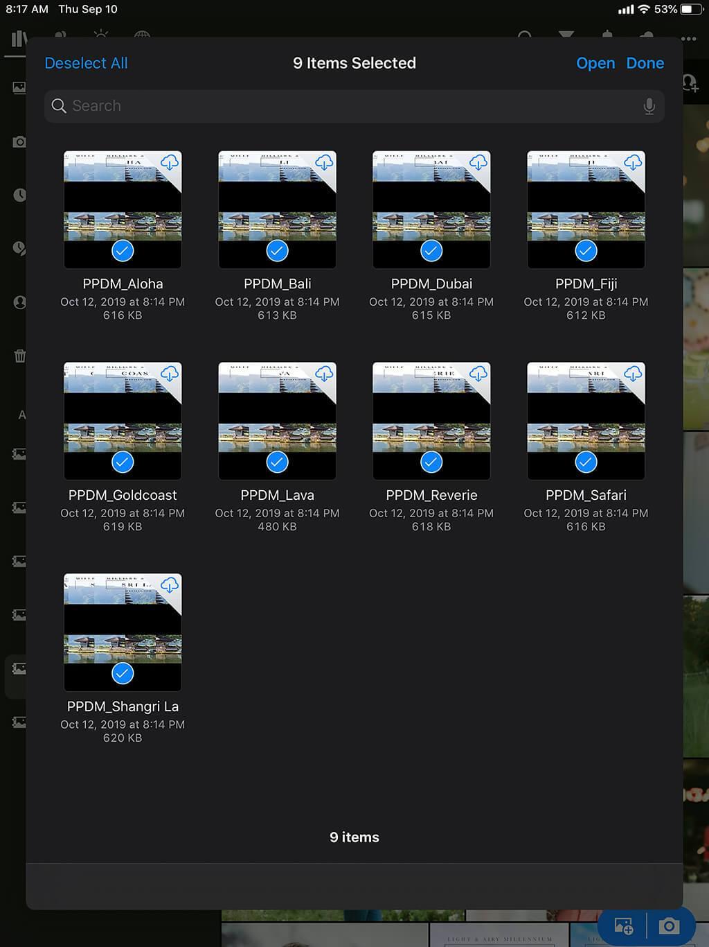 Cómo instalar presets de Lightroom en iPad