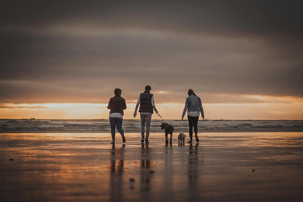 Imagen de familia caminando por la playa al atardecer