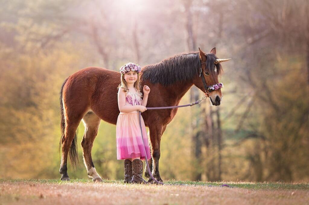 Sesión de fotos de unicornio con niños