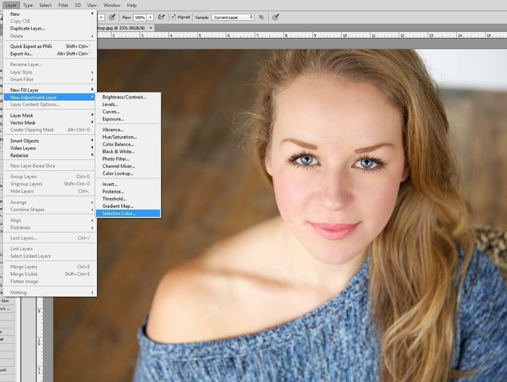 Capa de ajuste de color selectivo de Photoshop