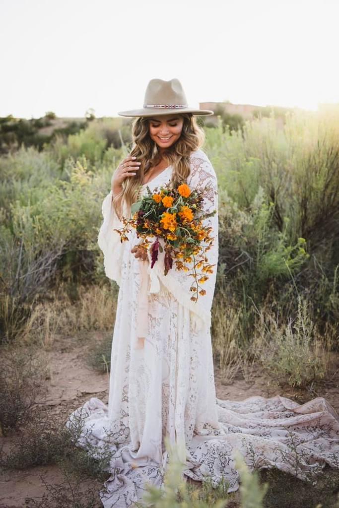 Novia, tenencia, ramo de flores