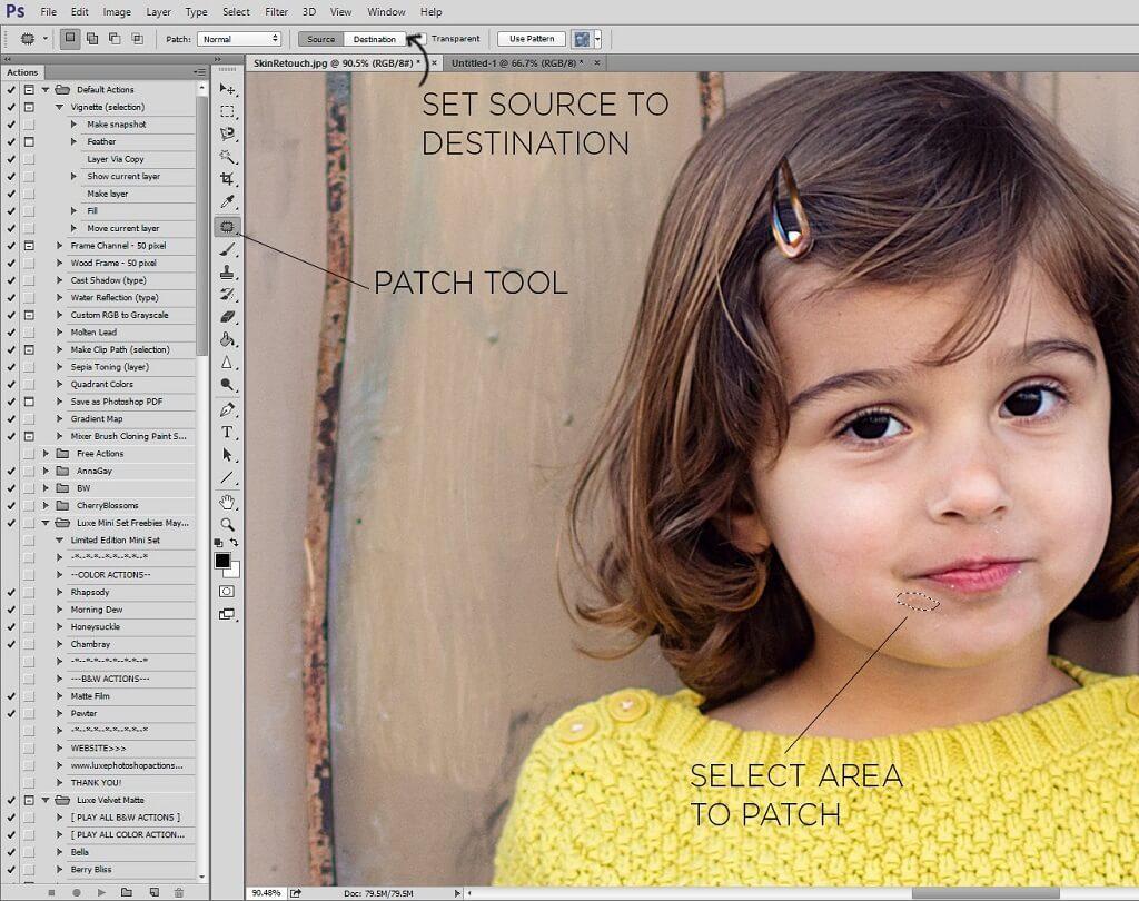 cómo usar la herramienta de parche en Photoshop
