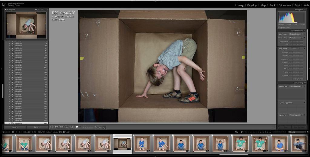 Plantillas de fotografía en la caja