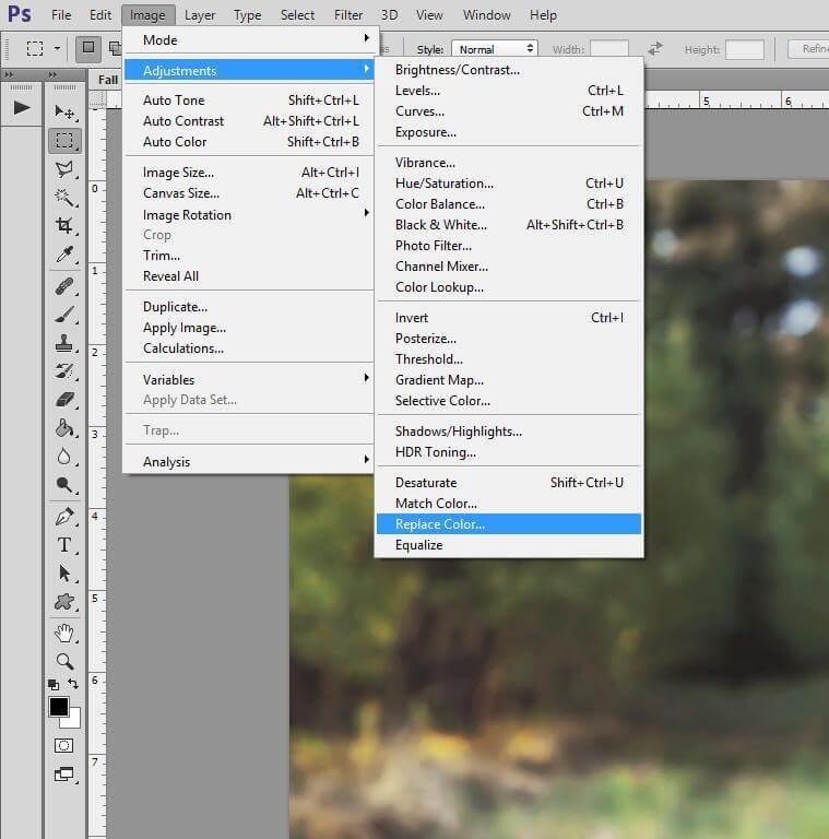 Photoshop herramienta de reemplazo de color