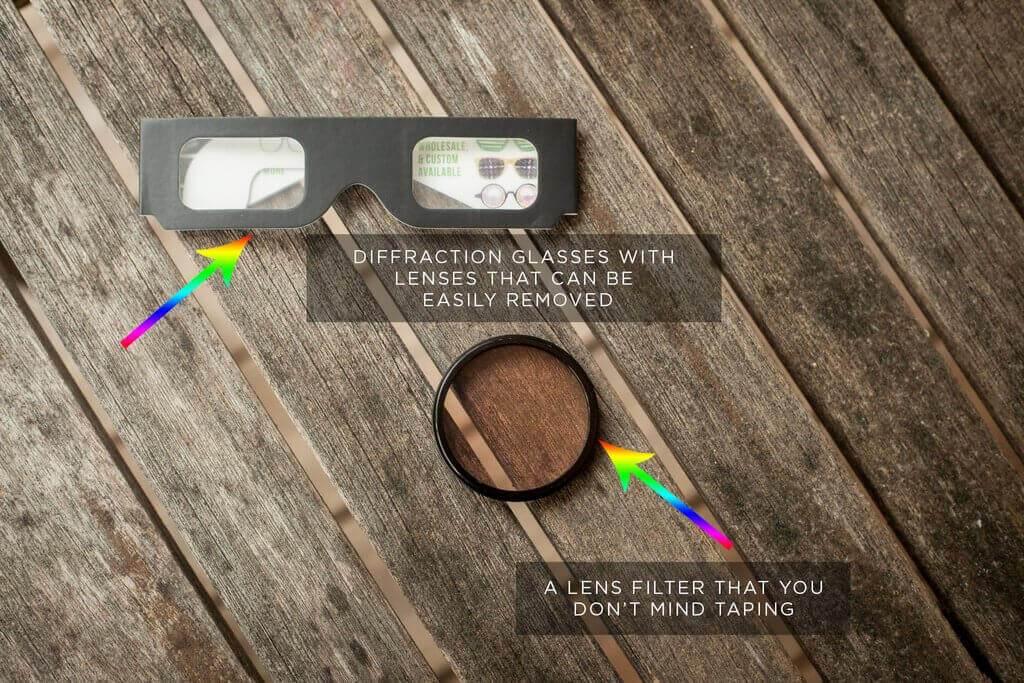 Filtro de luz de arco iris de bricolaje