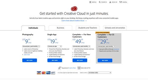 Estructura de precios de Creative Cloud