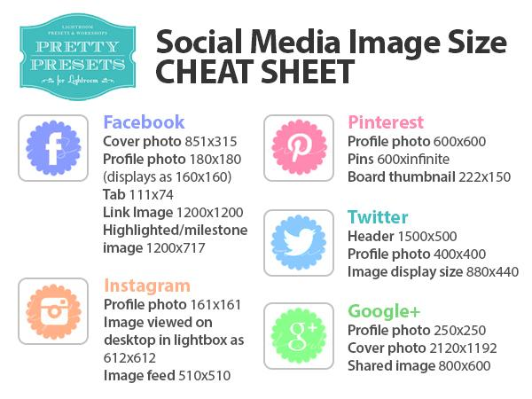 Hojas de trucos de tamaño de imagen de redes sociales    Tutorial de Pretty Presets Business