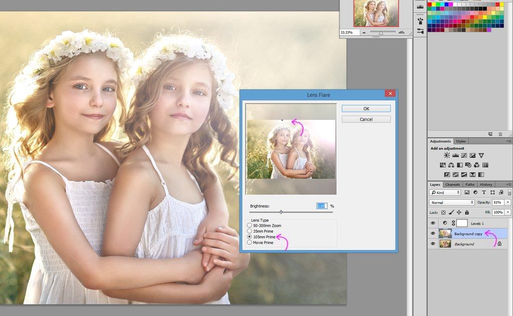 Cómo utilizar los filtros de destello de lente de Photoshop