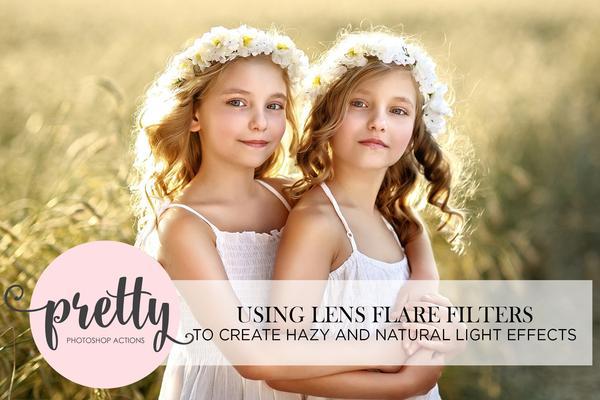 Edición con filtros de destello de lente de Photoshop