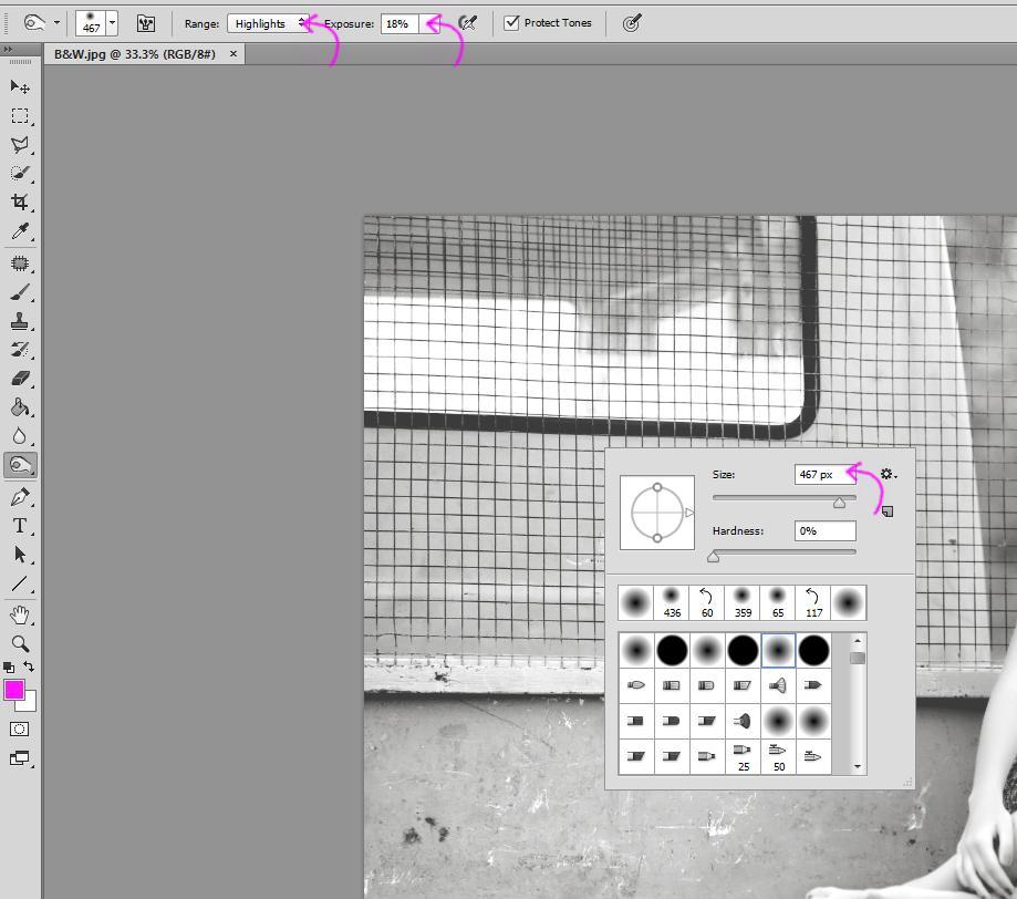 Herramienta Photoshop Dodge / Burn