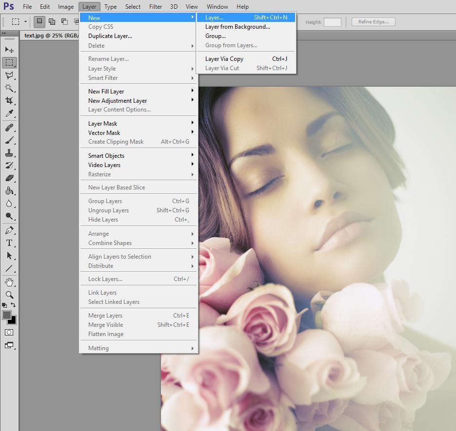 Abrir una nueva capa de Photoshop para agregar texto