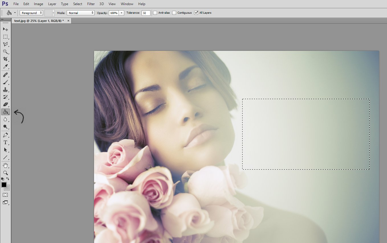 Uso de la herramienta Bote de pintura de Photoshop para agregar texto a una imagen