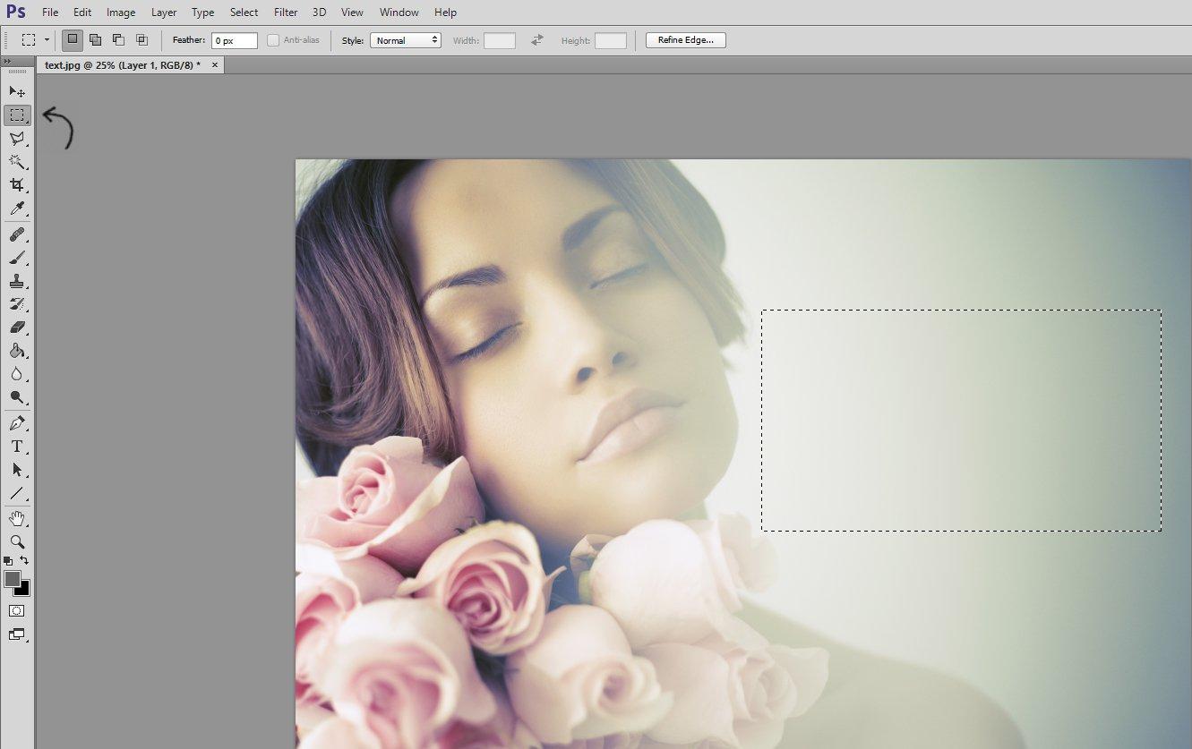Uso de Photoshop Marquee Took para agregar texto a una imagen