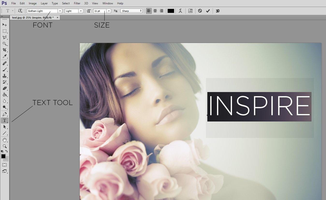 Uso de la herramienta de texto de Photoshop para agregar texto a la imagen