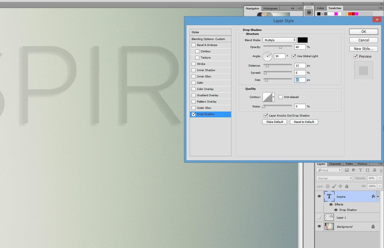 Agregar texto en Photoshop con sombra paralela
