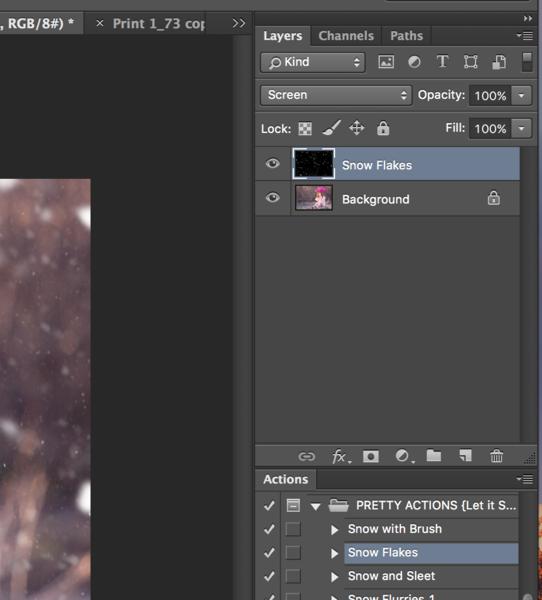 Acciones de Photoshop de copo de nieve
