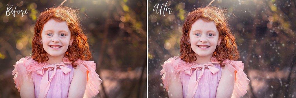 Acciones de Photoshop de invierno agregadas al retrato