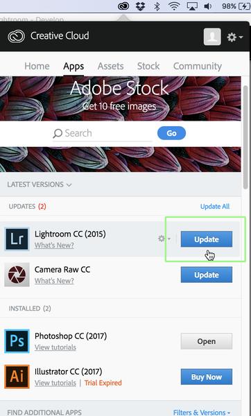 Mantenga su Lightroom CC actualizado buscando actualizaciones