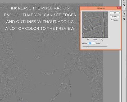 Configuración del radio de píxeles en el filtro de paso alto de Photoshop