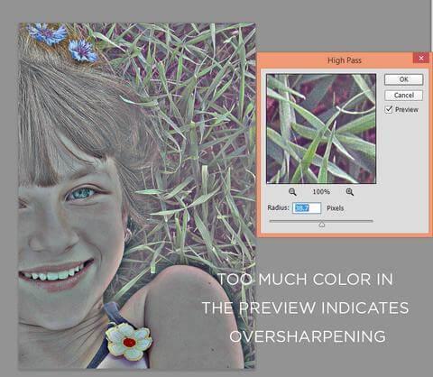 Demasiado color en el filtro de paso alto de Photoshop indica un exceso de nitidez
