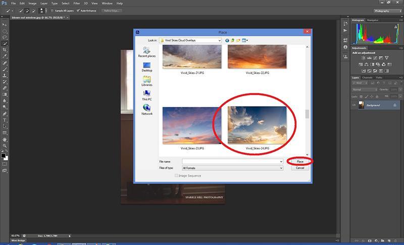 Seleccionar su superposición en la nube para usar en Photoshop