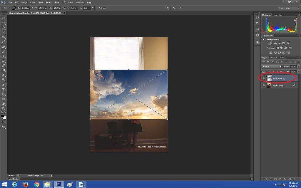 Colocando su superposición de cielo en Photoshop