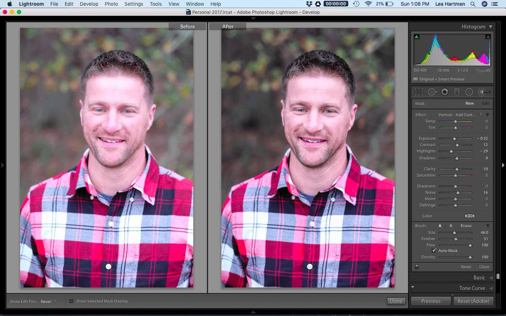 Edición limpia en Lightroom antes y después