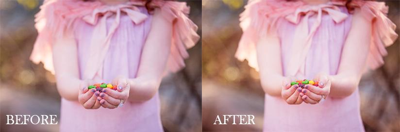 Saturación de color en Photoshop en retrato infantil