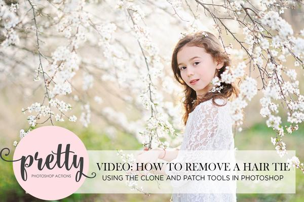 Uso de las herramientas de parche y sello de clonación de Photoshop para quitar un lazo para el cabello