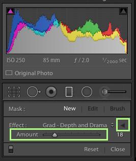 Menú de filtro graduado de Lightroom minimizado