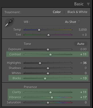 Cambios básicos en el panel para crear un toque de color en Lightroom