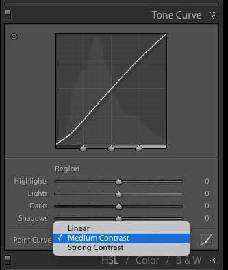 Curva de contraste medio en el panel Curva de tono de Lightroom