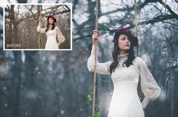 """Colección de pinceles y acción """"Let it Snow"""": añadir nieve en Photoshop"""