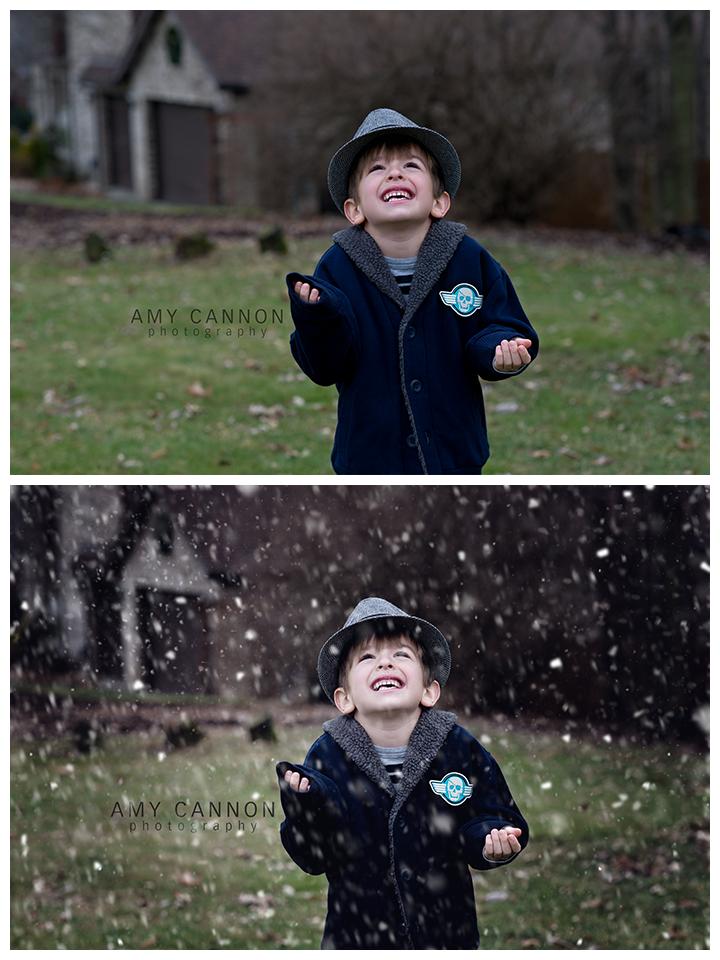 Adición de superposiciones de nieve en Photoshop
