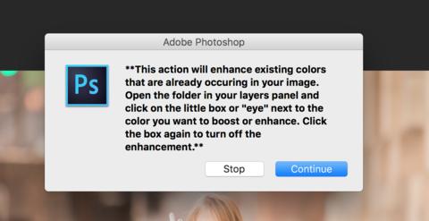 Ventana emergente automatizada de acciones de Photoshop