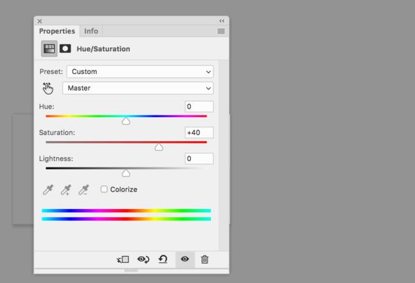 Pop de color con el panel de saturación de tono en Photoshop