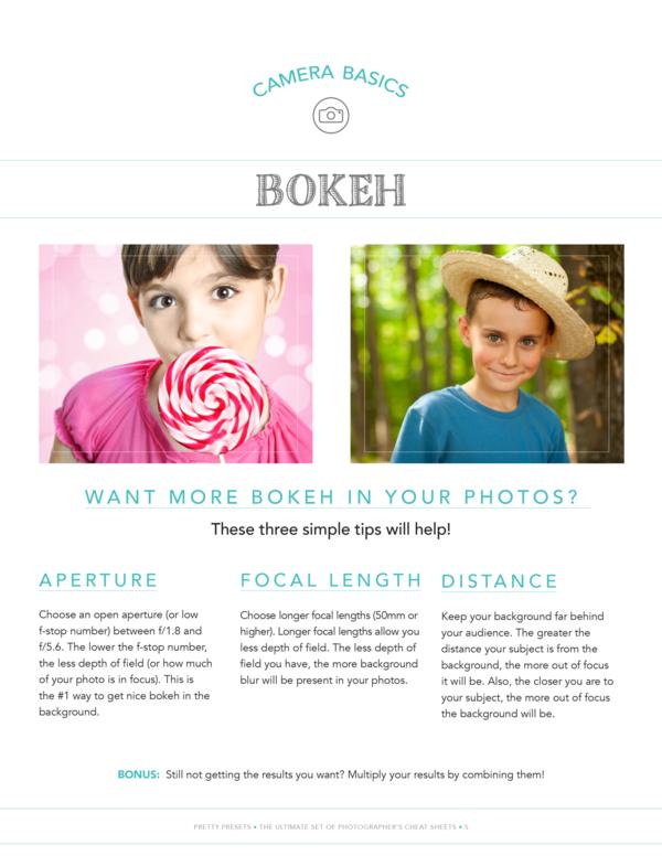 Hoja de referencia gratuita para fotógrafos: hoja de consejos de Bokeh
