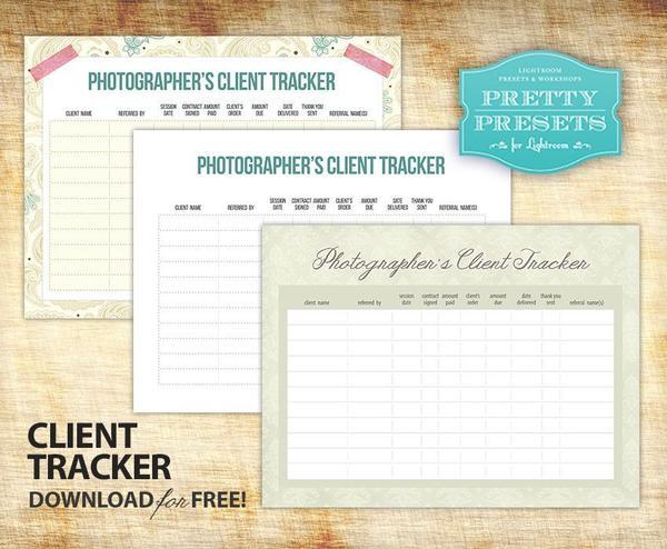 Hoja de trabajo gratuita de seguimiento de clientes para fotógrafos