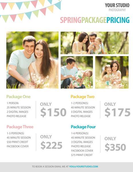 Plantilla de fotografía gratuita: precios del paquete de primavera para fotógrafos