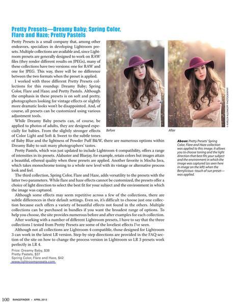 Pretty Presets destacados en la revista Rangefinder
